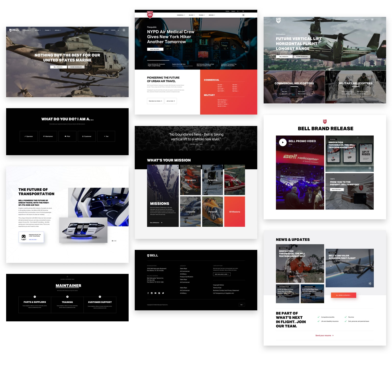 Bell Helicopter website design concept exploration by Spacetime
