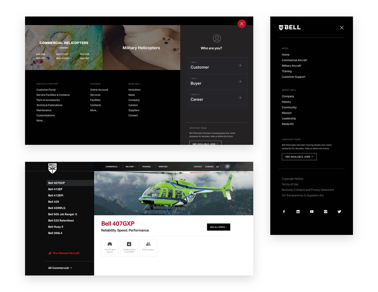 Bell Helicopter website menu designs by Spacetime