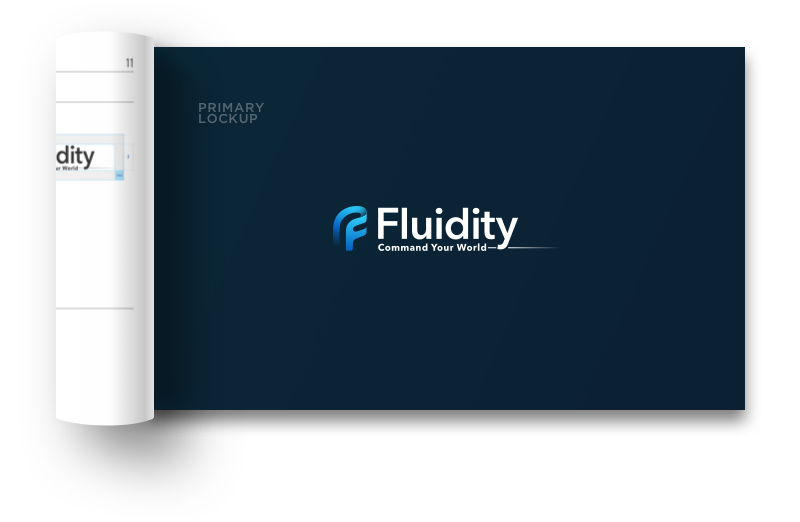 Fluidity Tech brand guidelines booklet cover
