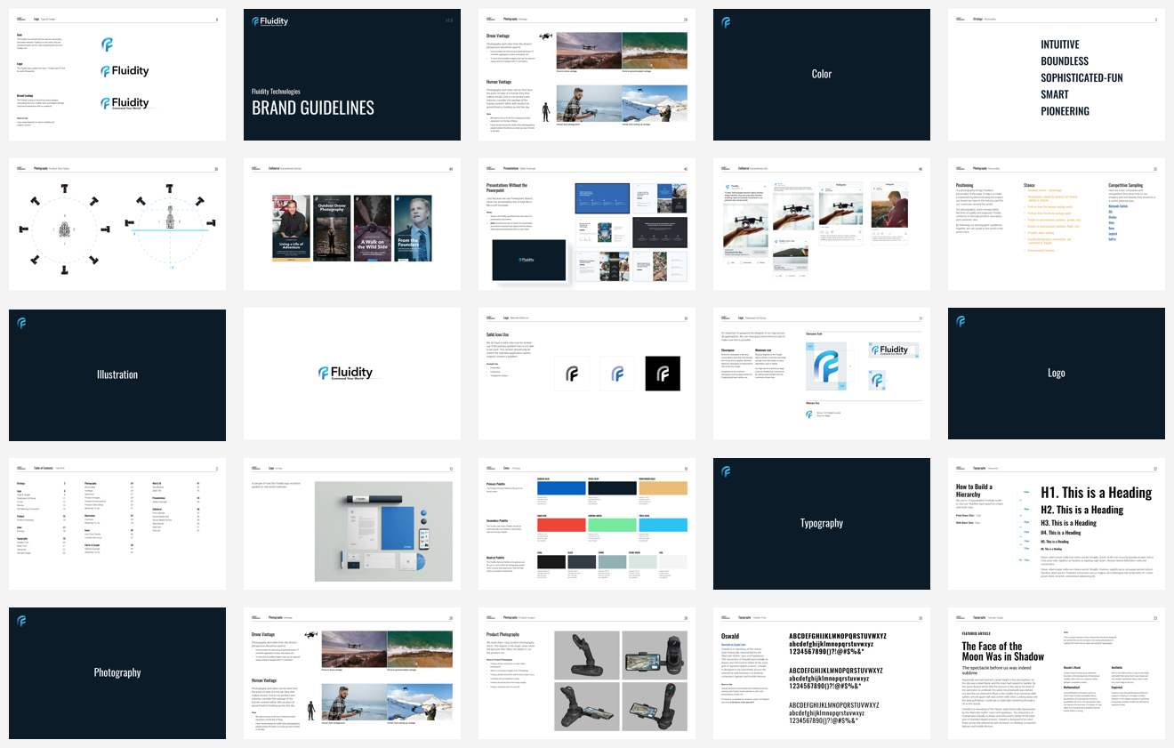 Fluidity Tech brand guidelines page designs
